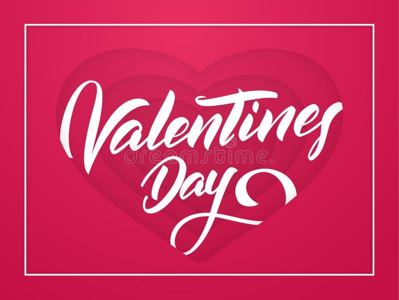 Vektorillustration: Romantiskt hälsningkort med handskriven bokstäver av valentindagen i röd pappers- hjärtabakgrund royaltyfri illustrationer
