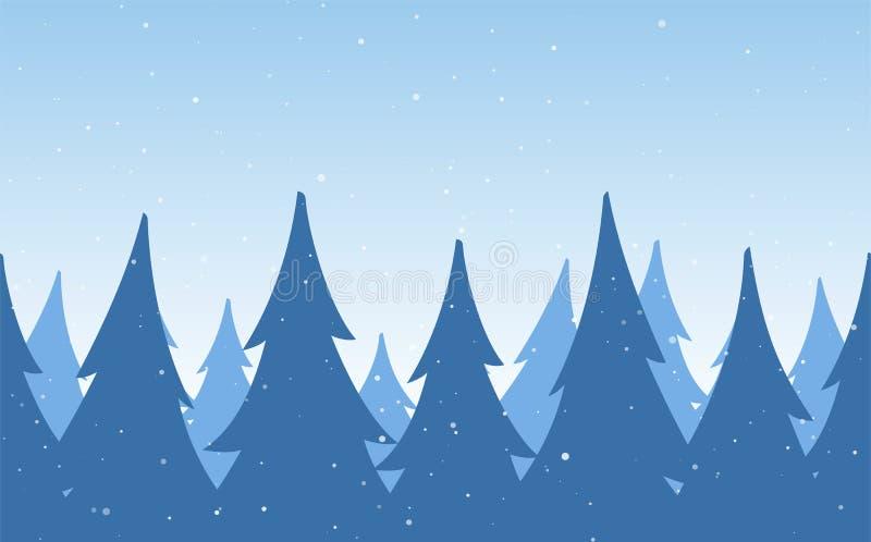Vektorillustration: Sömlös bakgrund Mall av julhälsningkortet med den snöig pinjeskogen för vinter vektor illustrationer