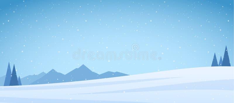 Vektorillustration: Sörjer det snöig berglandskapet för vintern med och fältet royaltyfri illustrationer