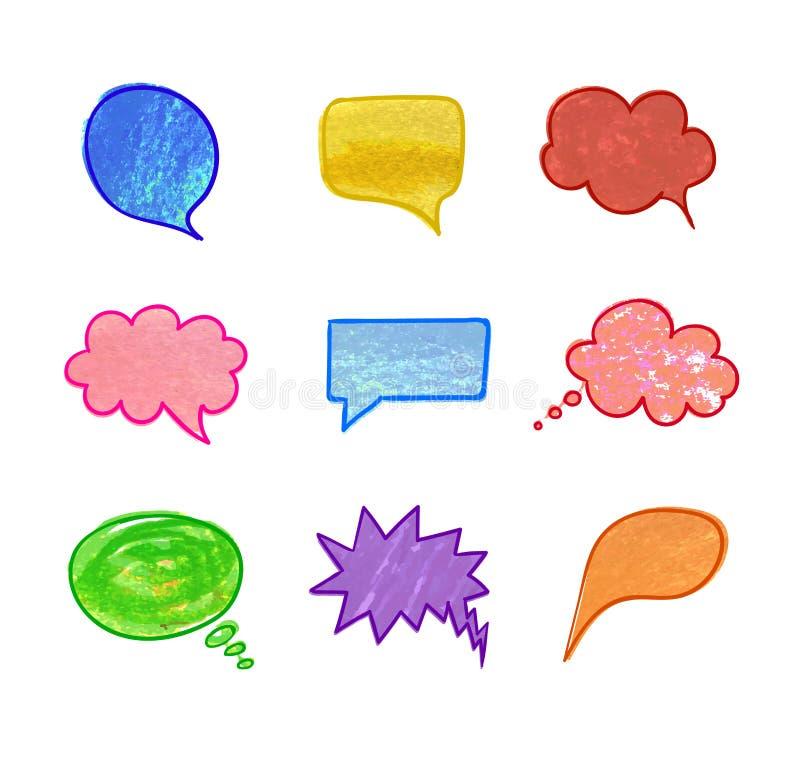 Vektorillustration: Samling av anförandebubblor, komisk färgrik samling för beståndsdelar för färgpennateckning royaltyfri illustrationer
