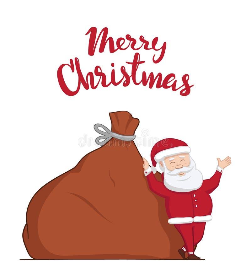 Vektorillustration: Santa Claus lutar på den stora säcken med gåvor Hand dragen bokstäver av glad jul vektor illustrationer