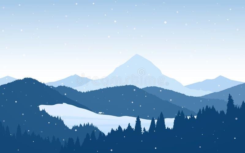 Vektorillustration: Snöig berglandskap för vinter med två hus, skog, kullar och maxima vektor illustrationer