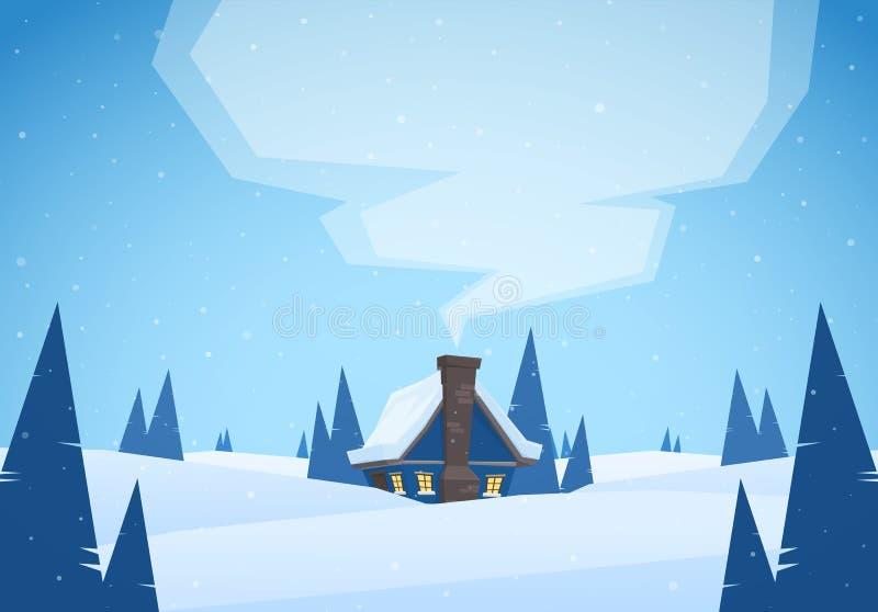 Vektorillustration: Snöig tecknad filmlandskap för vinter med huset och rök från lampglaset glad jul vektor illustrationer