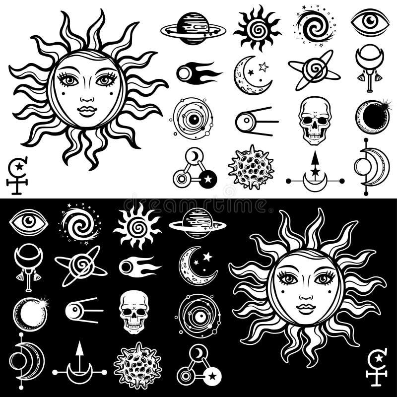 Vektorillustration: solen med en mänsklig framsida för kvinna` s, en uppsättning av esoteriska symboler för utrymme royaltyfri illustrationer