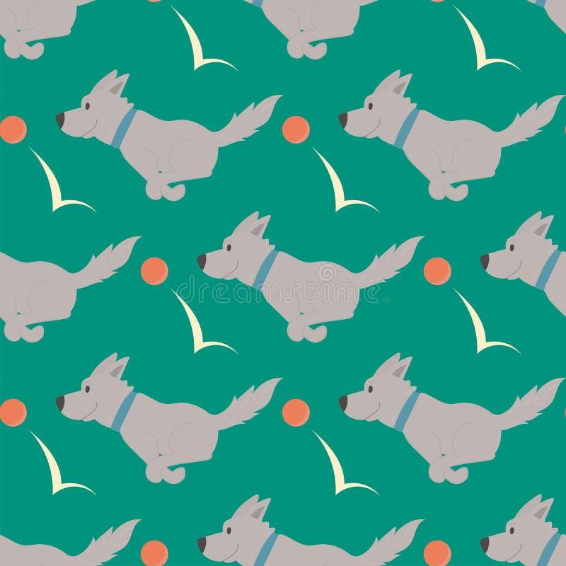 Vektorillustration som spelar modellen för rolig fullblods- avel för valp för hundkapplöpningteckenbakgrund den sömlösa komisk ly vektor illustrationer