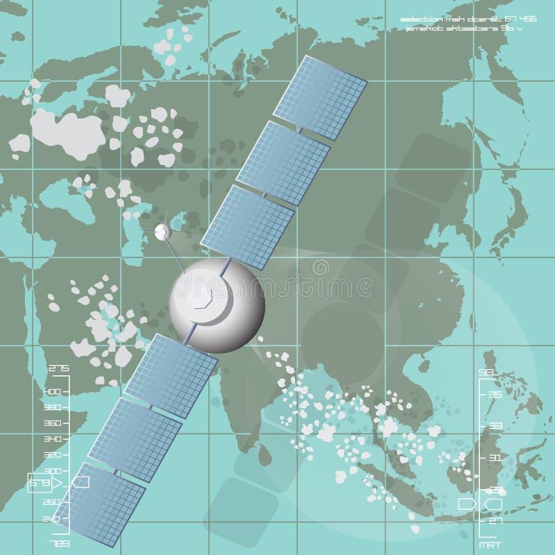 Vektorillustration som visar en kommunikationssatellit royaltyfri illustrationer