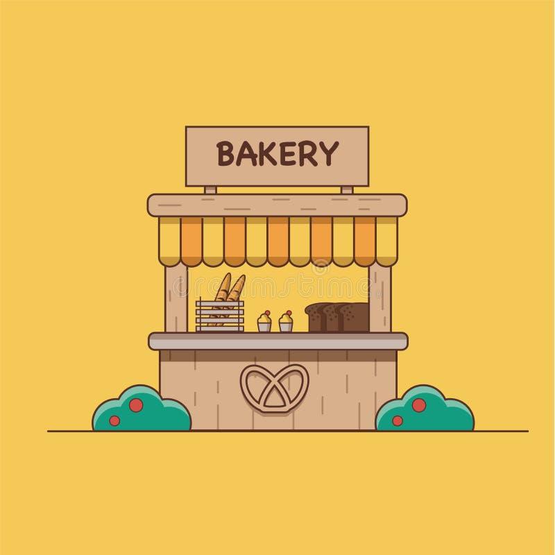 Vektorillustration som visar ett bageri på en orange bakgrund stock illustrationer