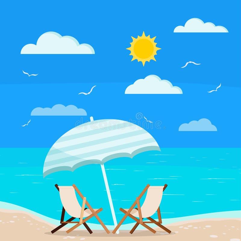 Vektorillustration Sommerferien-Meer-viewf des flachen Entwurfskarikaturart-Meerblickhintergrundes vektor abbildung