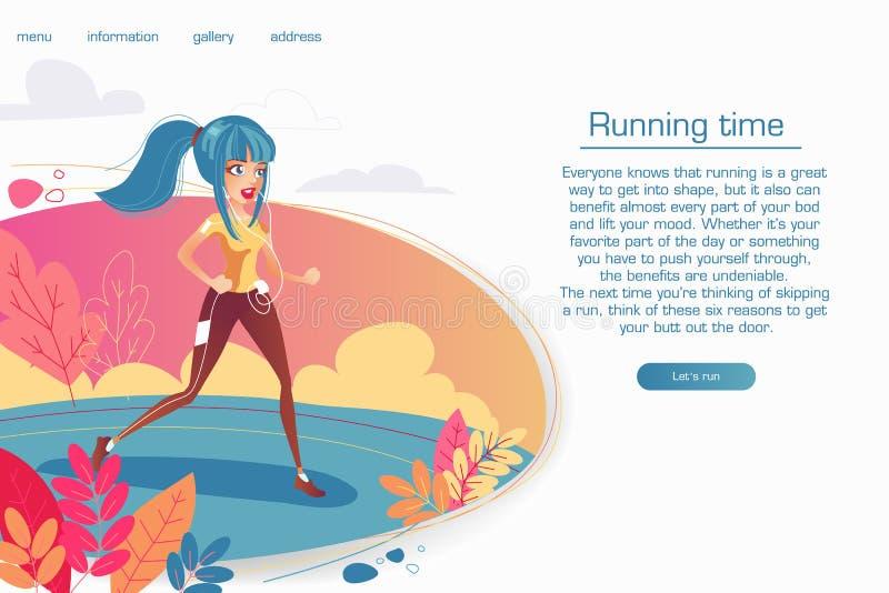 Vektorillustration - sportliches Mädchen, das in Park läuft Landungsseitenschablone des gesunden Lebensstils, die Eignung der Fra stock abbildung