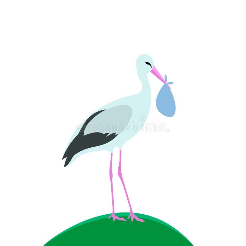 Vektorillustration, Storch steht mit Tasche vektor abbildung