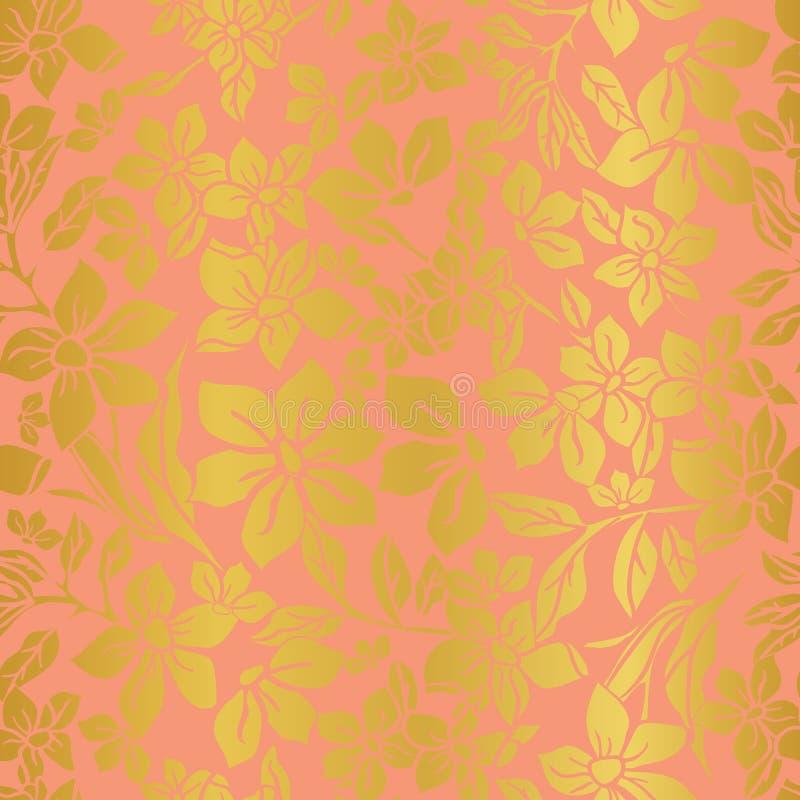 Vektorillustration, tappning, sömlös repetitionmodell för blom- textur royaltyfri illustrationer
