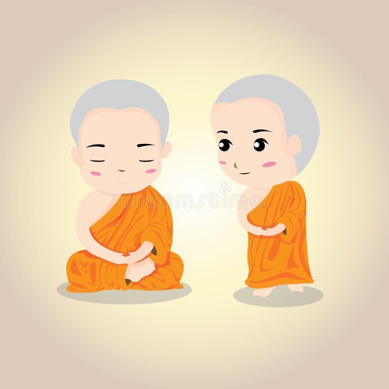 Vektorillustration - thailändischer Mönch lizenzfreie stockfotografie
