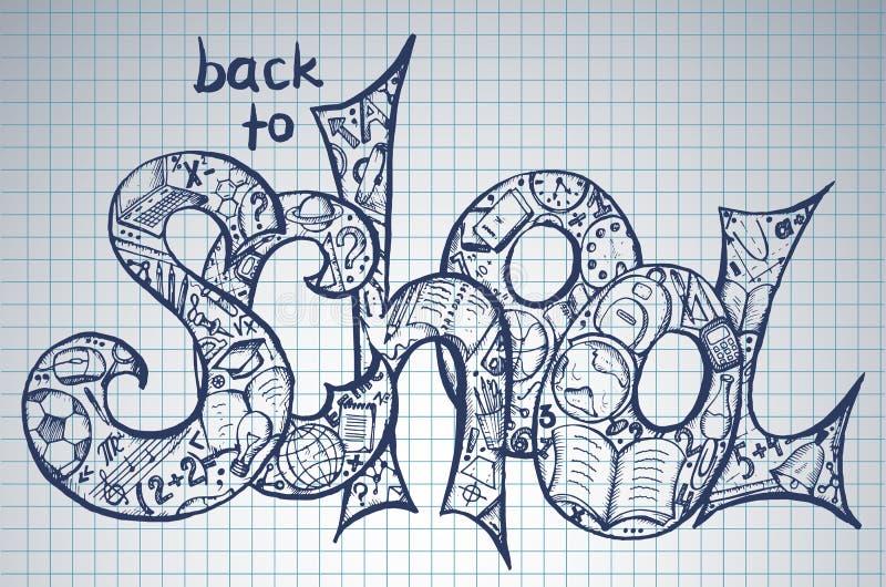 Vektorillustration tillbaka till skolatext royaltyfri illustrationer