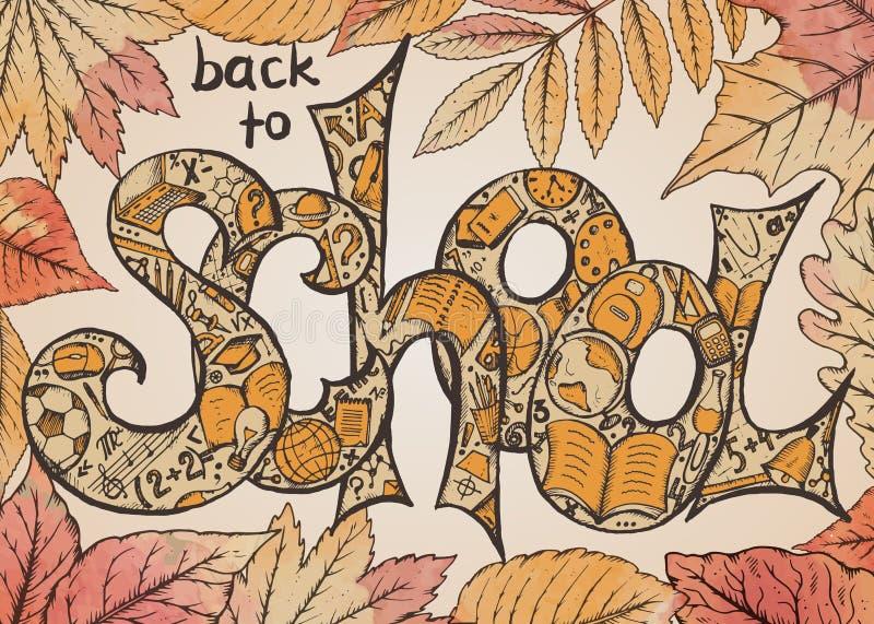 Vektorillustration tillbaka till skolatext stock illustrationer