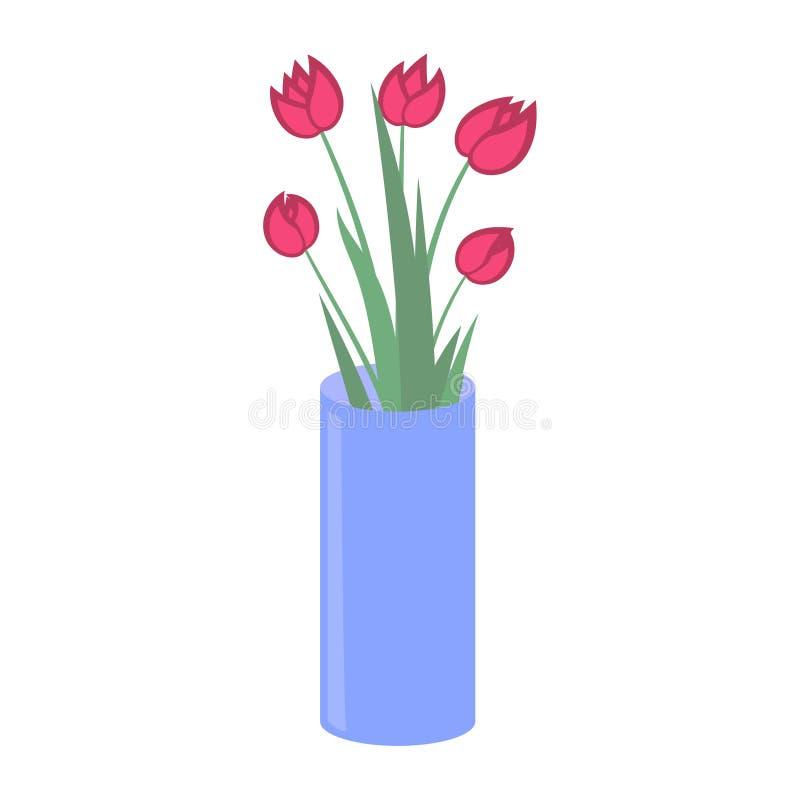 Vektorillustration, Tulpen in einem Vase vektor abbildung
