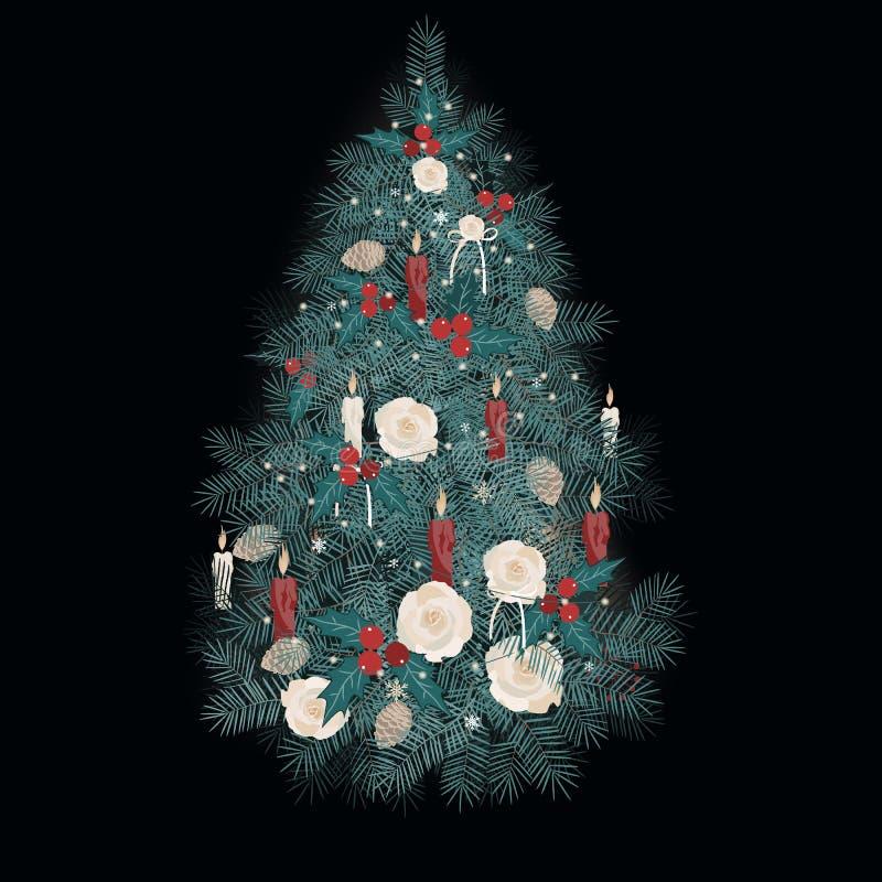 Vektorillustration verzierte Weihnachtsbaum mit Rosen, Kerzen und Kiefernkegeln auf dunklem Hintergrund stock abbildung