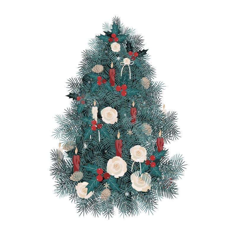 Vektorillustration verzierte Weihnachtsbaum mit Rosen, Kerzen und Kiefernkegeln auf weißem Hintergrund vektor abbildung