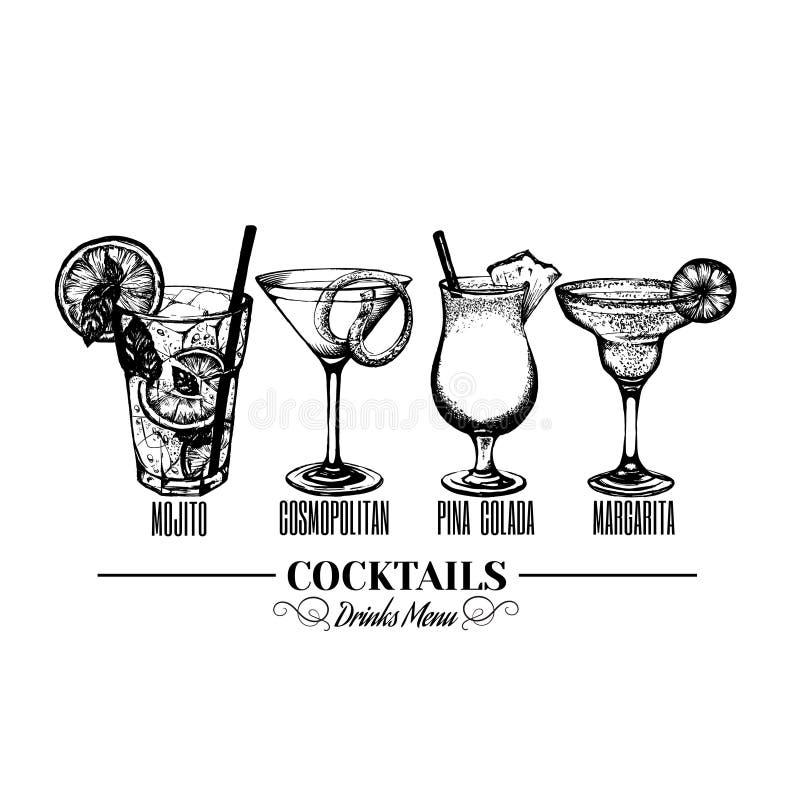 Vektorillustration von alkoholischen Cocktails stock abbildung