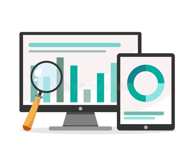 Vektorillustration von Analytics und von Datenverwaltungskonzept Weißer Hintergrund vektor abbildung