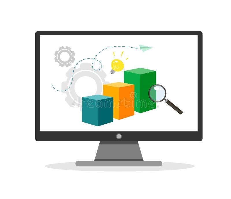 Vektorillustration von Analytics und von Datenverwaltungskonzept Wei?er Hintergrund stock abbildung