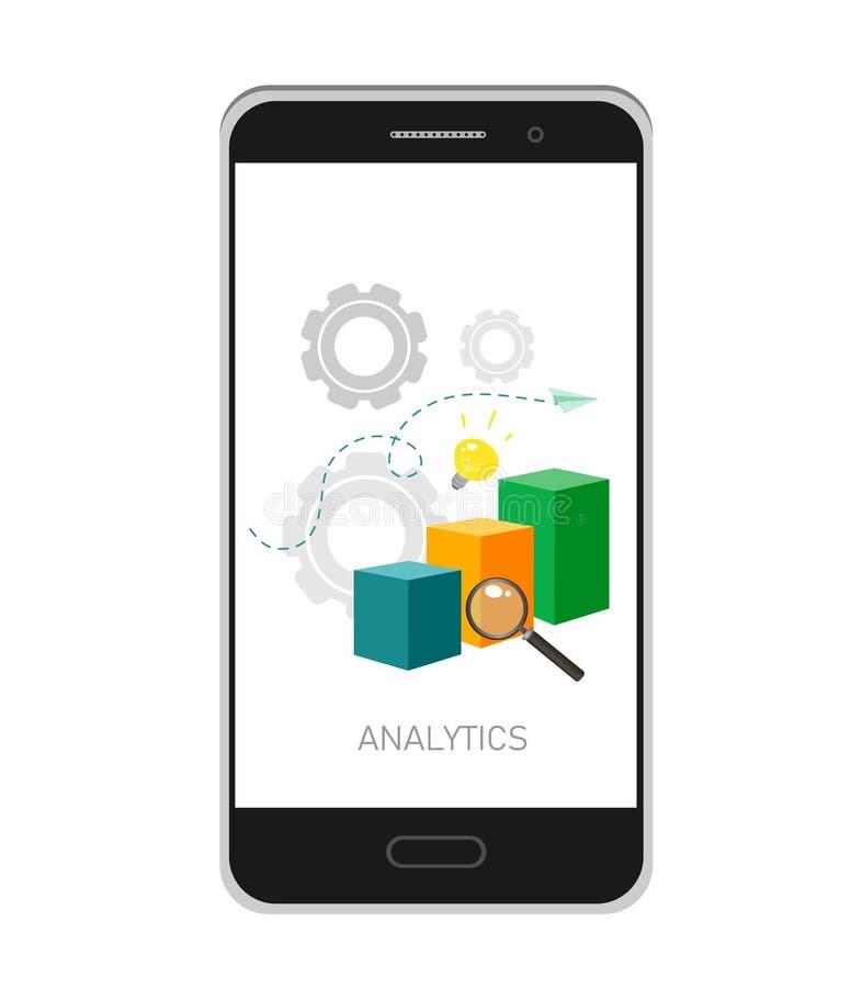 Vektorillustration von Analytics und von Datenverwaltungskonzept Wei?er Hintergrund Bewegliche APP stock abbildung