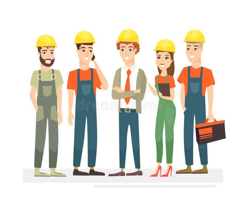 Vektorillustration von Arbeitskräften Team, Ingenieure und Erbauer gekleidet in den Schutzwesten und in den Sturzhelmen Arbeitskr stock abbildung