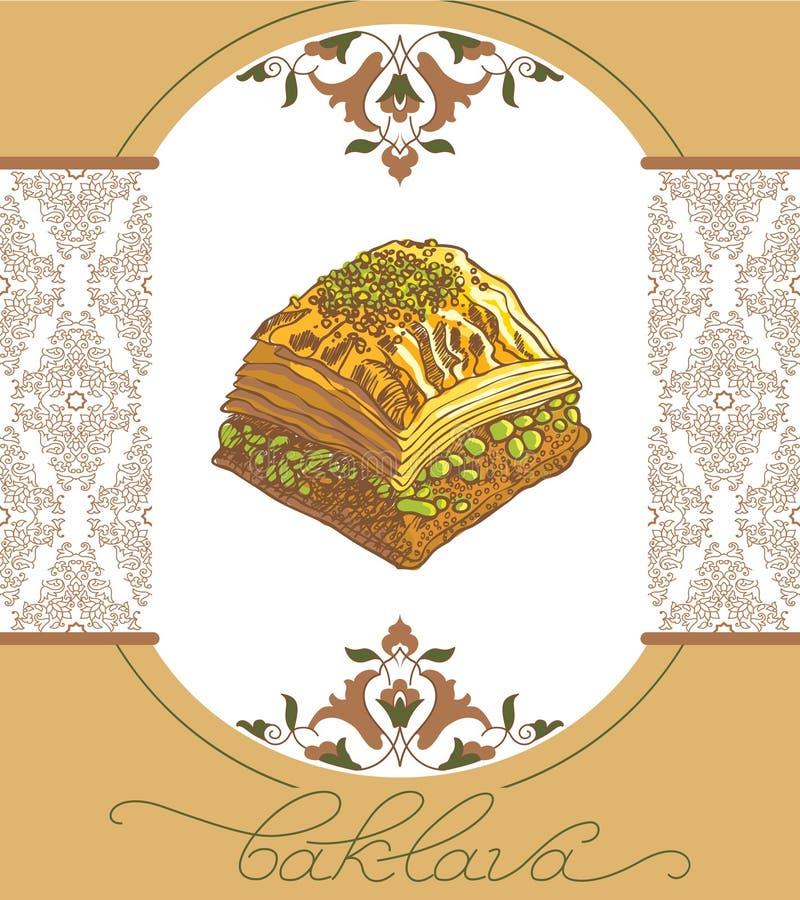 Vektorillustration von Baklava mit den Pistazien lizenzfreie abbildung