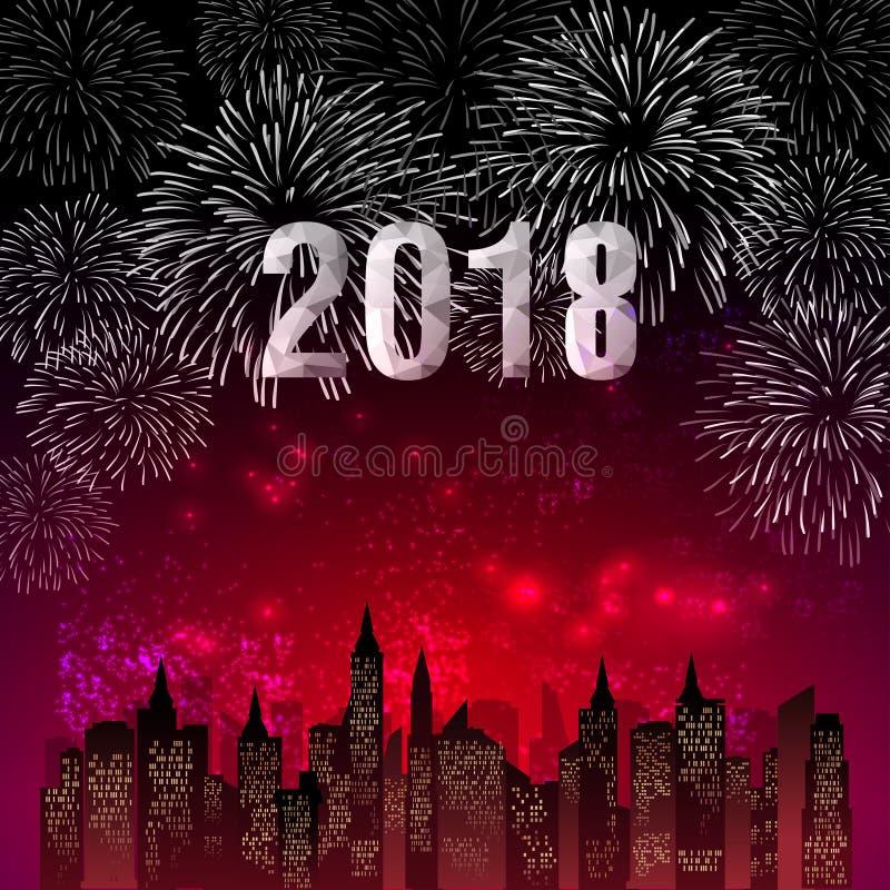 Vektorillustration von bunten Feuerwerken Guten Rutsch ins Neue Jahr-Thema 2018 lizenzfreie abbildung
