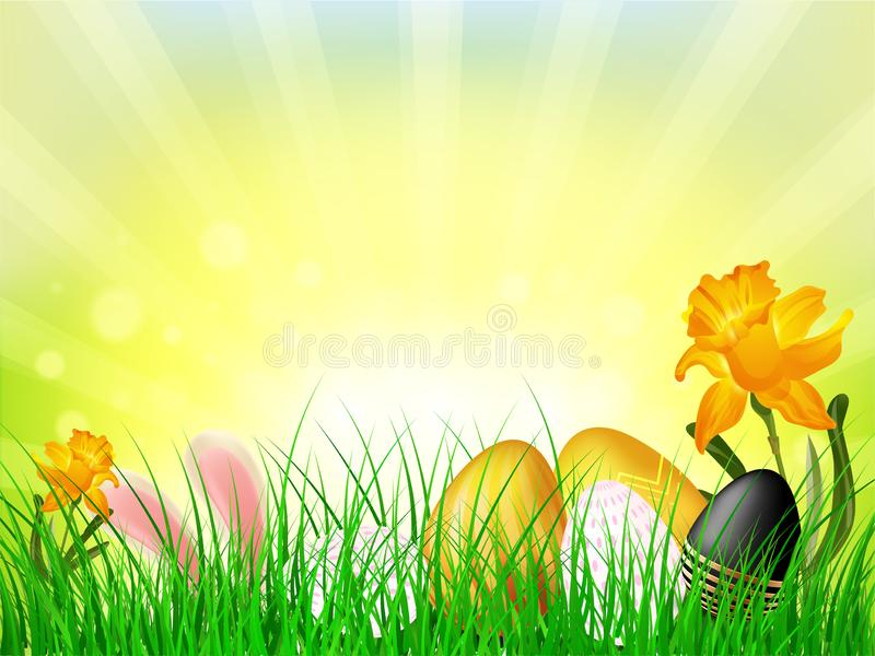 Vektorillustration von bunten Ostereiern versteckt im Gras auf glänzendem Strahlnhintergrund stock abbildung