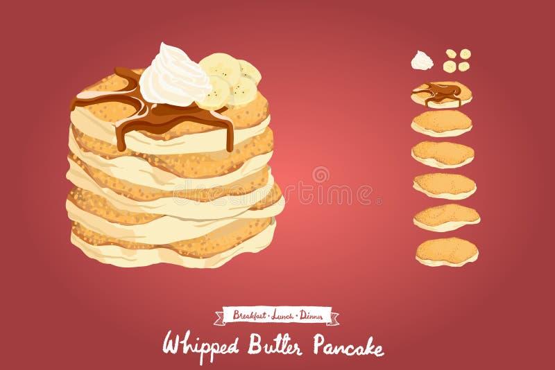 Vektorillustration von den gebratenen Pfannkuchen, die mit Sirup, Schlagsahne und Bananen übersteigen stockfoto