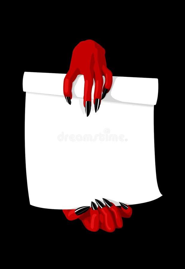 Vektorillustration von den Teufelhänden, die Vertrag halten stock abbildung