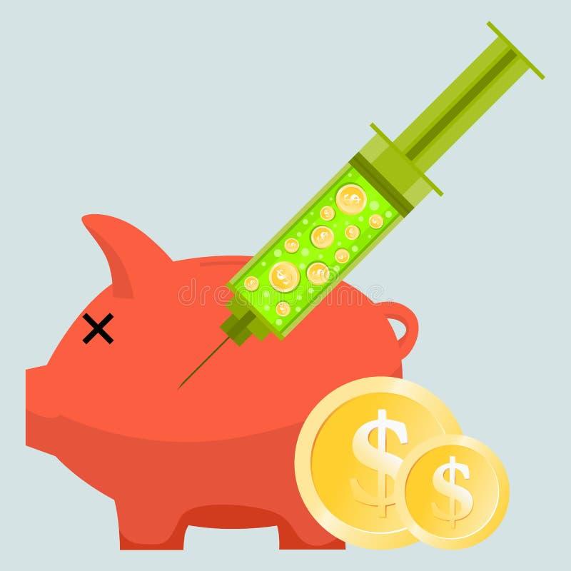 Geld-Einspritzung lizenzfreie abbildung
