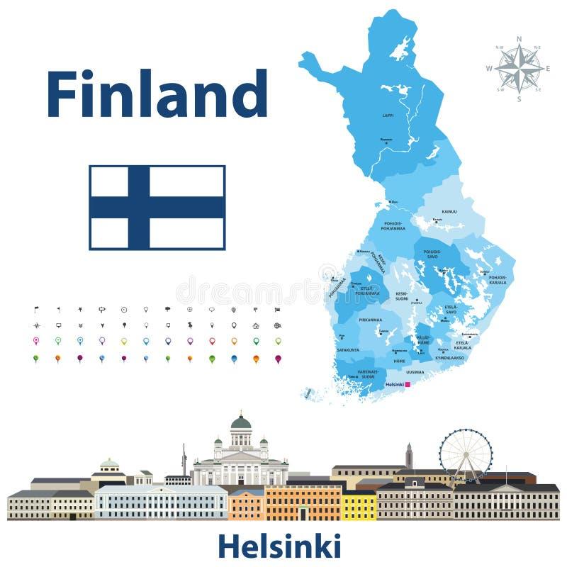 Vektorillustration von Finnland-Regionen zeichnen mit Namen und Hauptstädten auf ihr auf Helsinki-Stadtbild stock abbildung