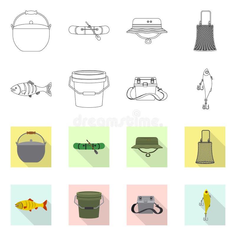 Vektorillustration von Fischen und von Fischenlogo Satz der Fisch- und Ausrüstungsvektorikone für Vorrat stock abbildung