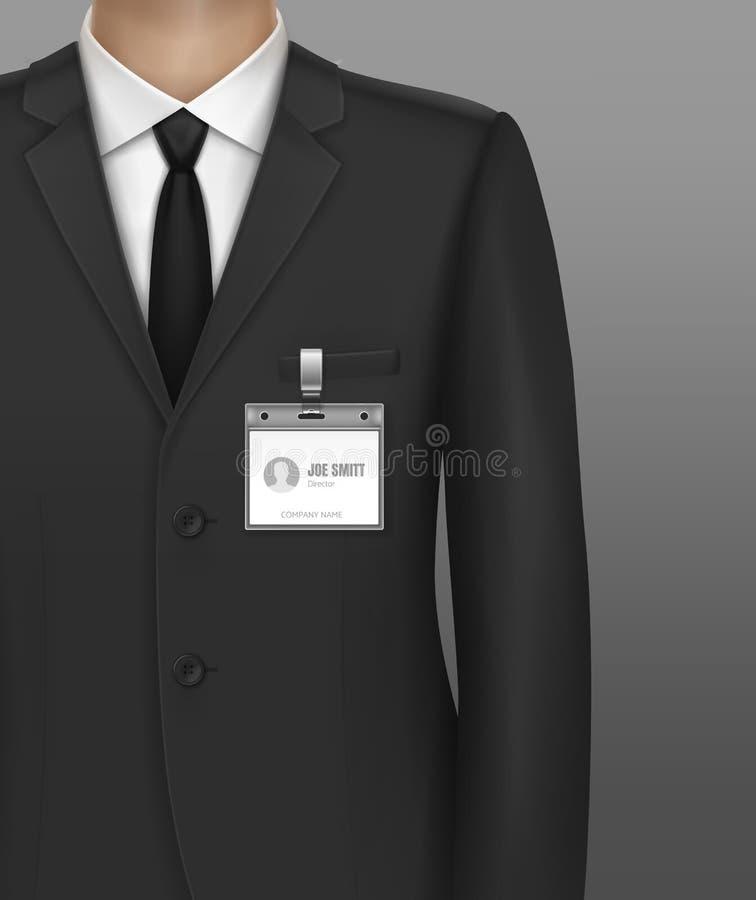 Vektorillustration von formal angekleidet im klassischen Klagengeschäftsmann mit Identifikations-Ausweisinhaber auf Bügelclip lizenzfreie abbildung