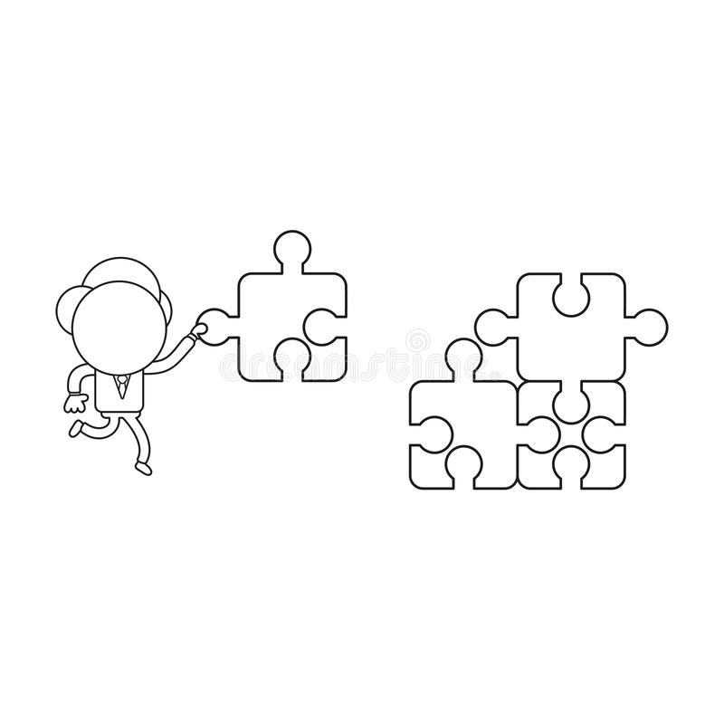 Vektorillustration von Geschäftsmanncharakter Betrieb und carryin vektor abbildung