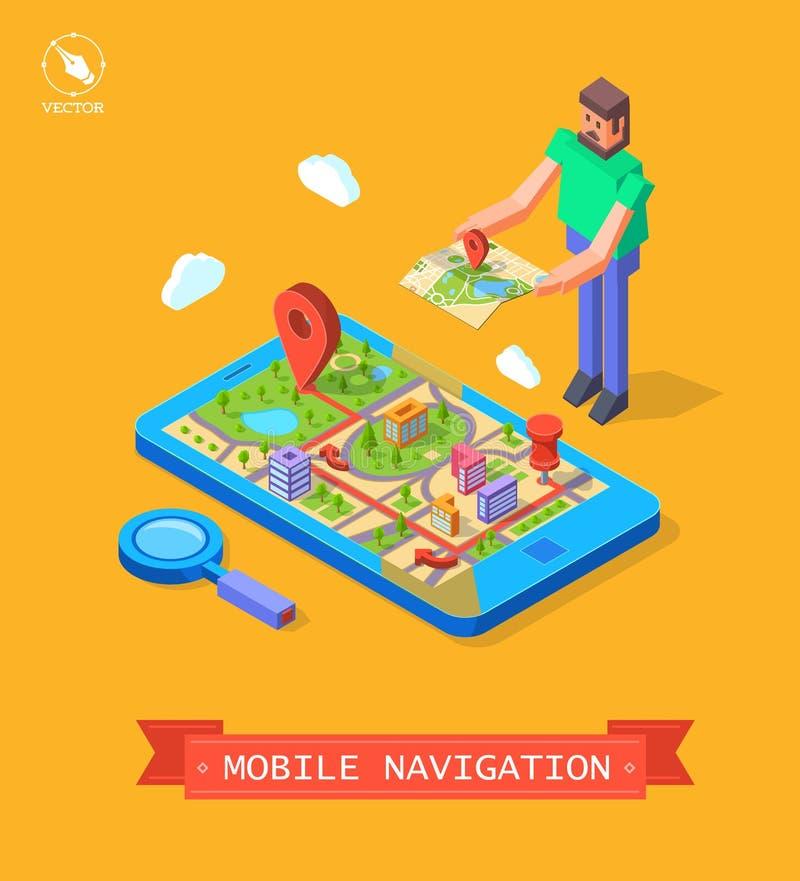Vektorillustration von GPS im Mobile nearsighted stock abbildung