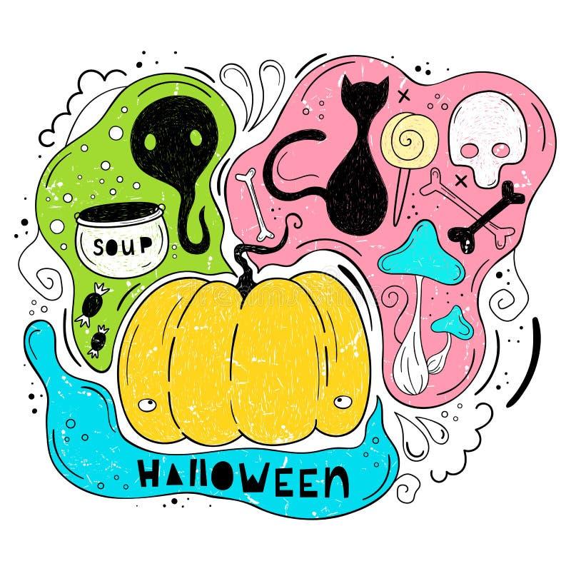 Vektorillustration von Halloween Die Karikaturart Eigenhändig zeichnen Elemente für Halloween im Vektorformat Ein festliches vektor abbildung