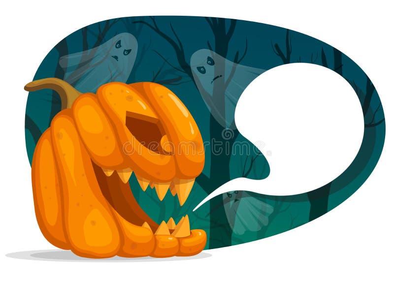 Vektorillustration von Halloween-Kürbischarakteren Laternenkopf Jacks O mit Spracheblase Gruseliger dunkler Wald mit Geistern lizenzfreie abbildung
