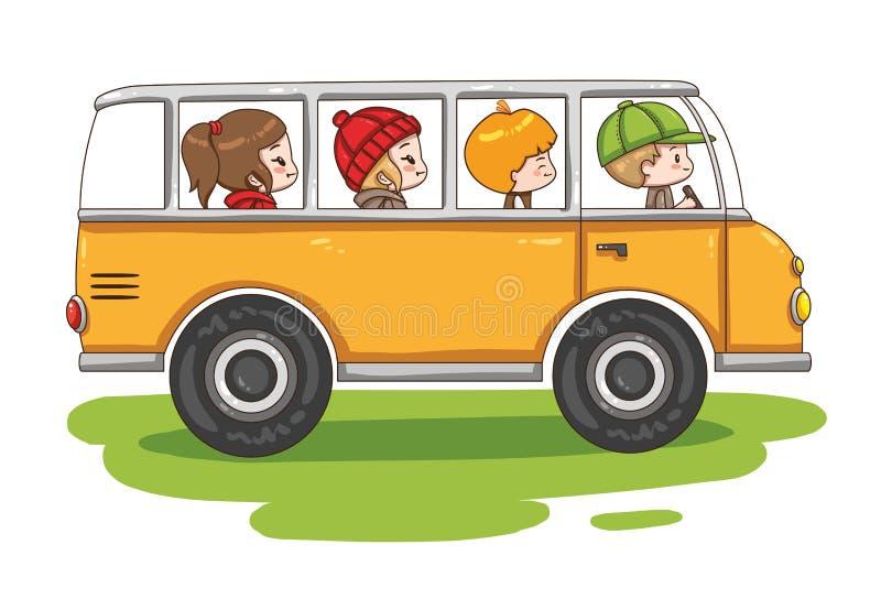 Vektorillustration von Karikatur schoolbus lokalisiert auf weißem Hintergrund lizenzfreie abbildung