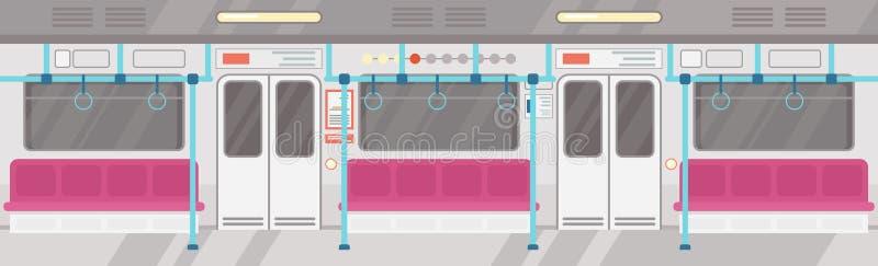 Vektorillustration von leerem des modernen U-Bahninnenraums Konzept der öffentlichen Transportmittel der Stadt, Untertagetram Inn lizenzfreie abbildung