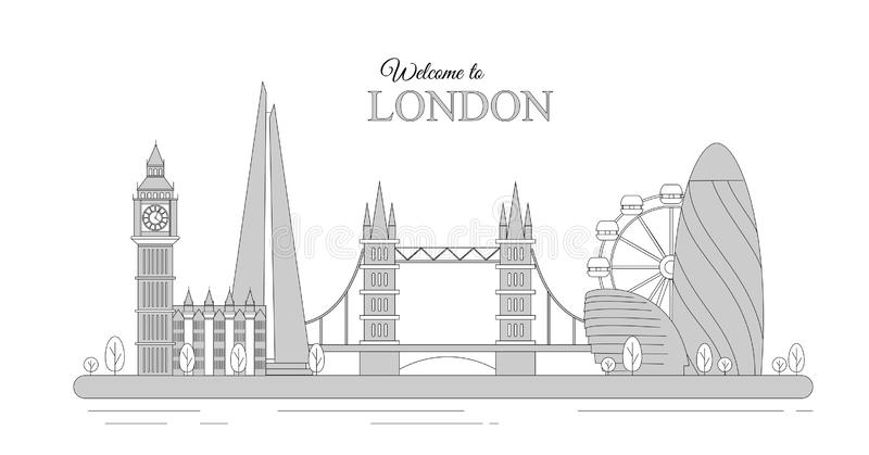 Vektorillustration von London-Stadtbild als infographic touristischer Anblick von Großbritannien, Willkommen nach Vereinigtes Kön lizenzfreie abbildung