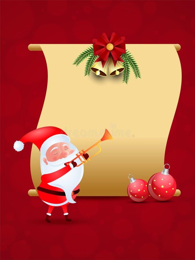 Vektorillustration von nettem Weihnachtsmann mit Flitter und freiem Raum s stock abbildung