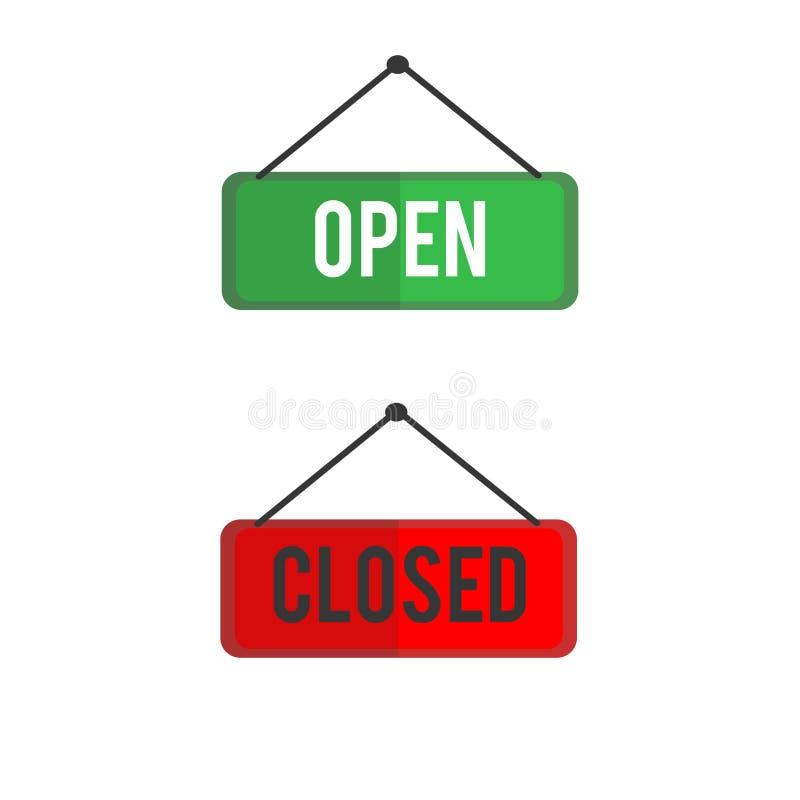 Vektorillustration von Open und von geschlossenen Zeichen lizenzfreie abbildung