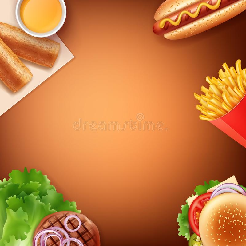 Vektorillustration von Pommes-Frites, von Würstchen, von Cheeseburger, von gebratenem Pastetchen mit Soße und von gegrilltem Fl vektor abbildung