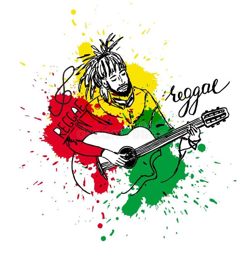 Vektorillustration von rastaman Gitarre spielend Netter rastafarian Kerl mit Dreadlocks Von Hand gezeichnet Farbe spritzt lizenzfreie abbildung