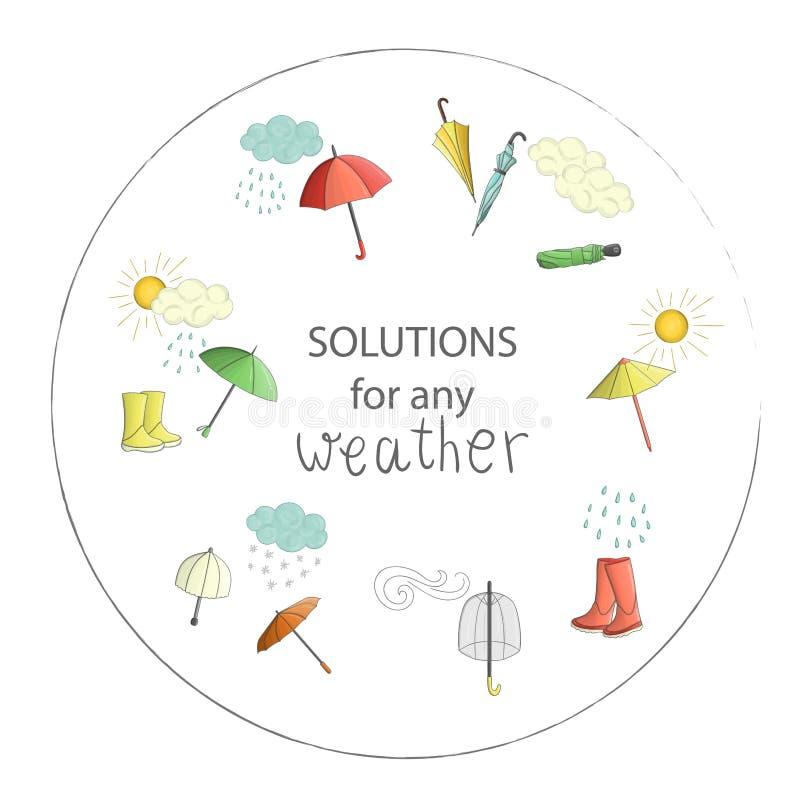 Vektorillustration von Regenschirmen mit Wetterelementen stock abbildung