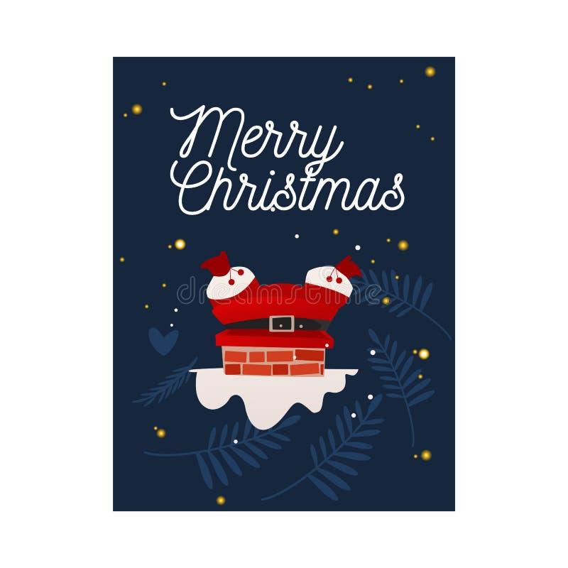 Vektorillustration von Santa Claus im roten Kostüm gehaftet im Kamin stock abbildung