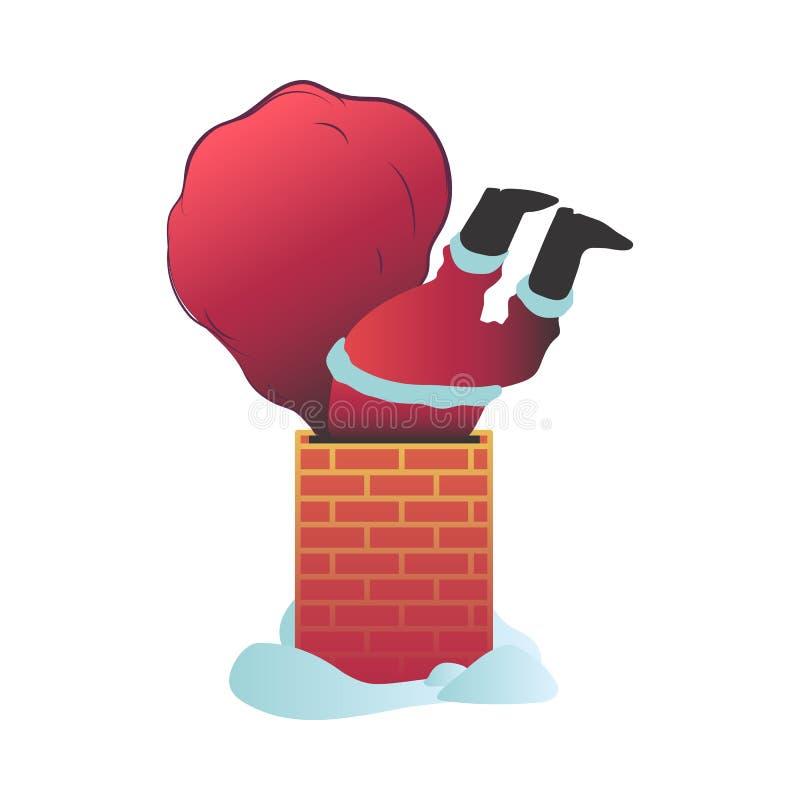Vektorillustration von Santa Claus im roten Kostüm mit der Tasche gehaftet im Kamin stock abbildung