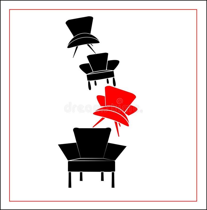 Vektorillustration von schwarzen und roten Lehnsesseln stockfotos